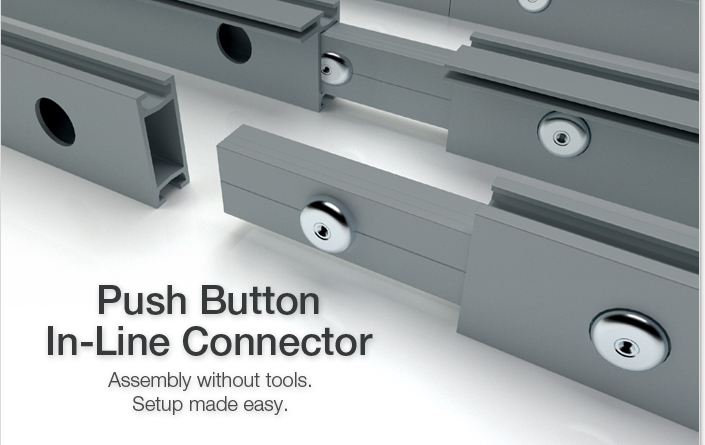 AGAM's New Push Button In-Line Connector.  Assembly without tools.  Setup made easy.