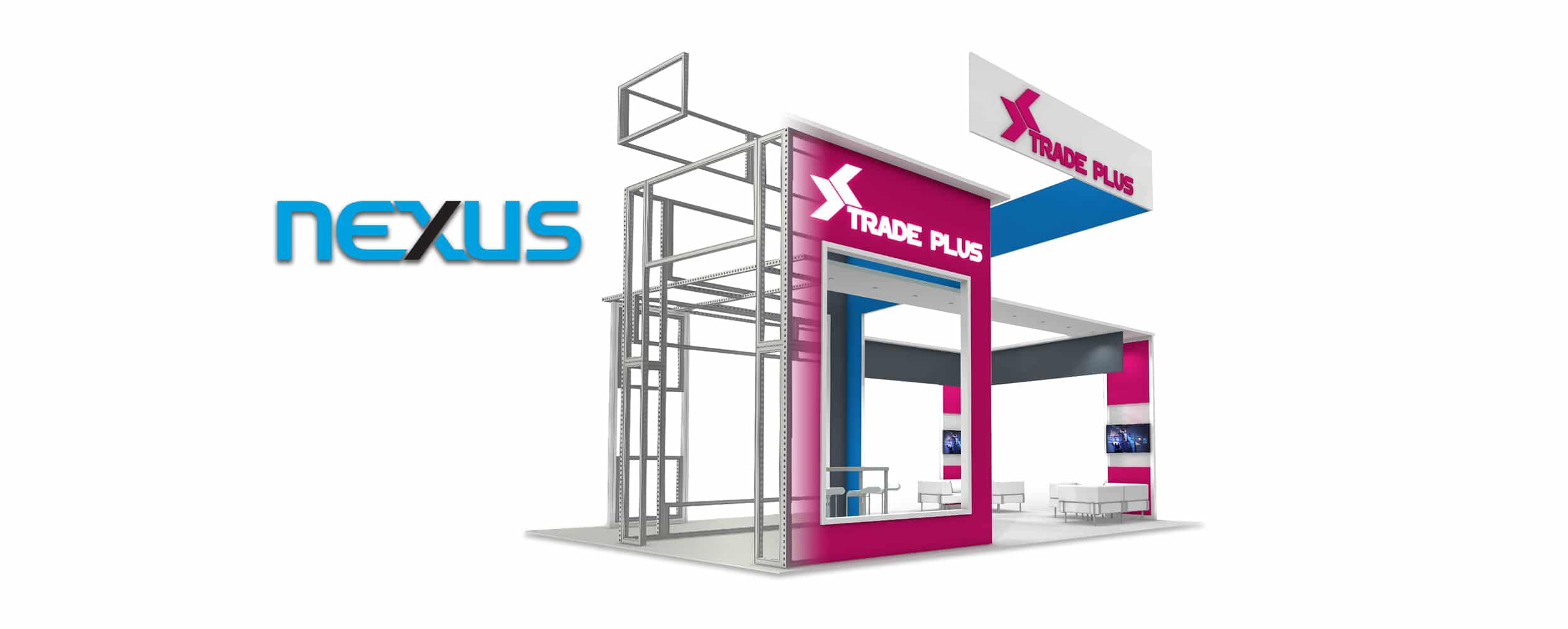 Nexus booth render with exposed frames