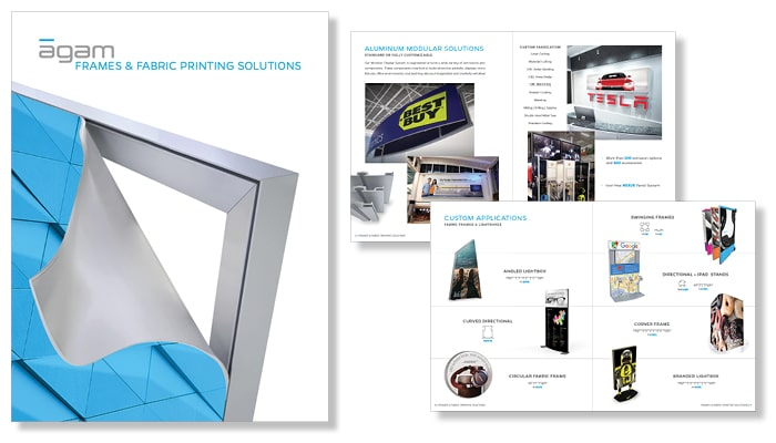 frames and fabric printing brochure cover and pages